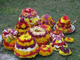 Bathukamma - Flower arrangement in a stack