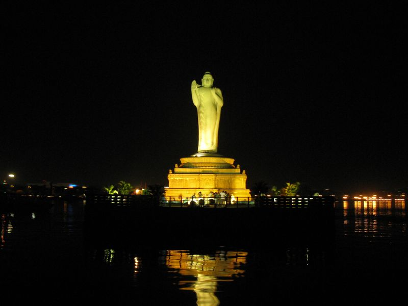 Buddha Statue at night- Hussain Sagar Lake Hyderabad