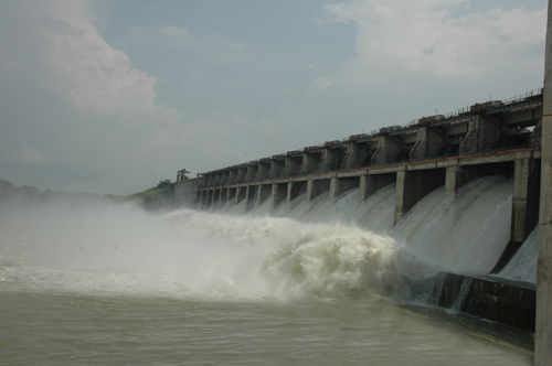 Water gushihng at Lower Manair Dam Karimnagar when 20 flood gates are opened