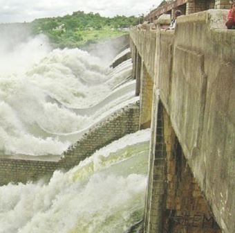 Water flow at Nizam Sagar Dam