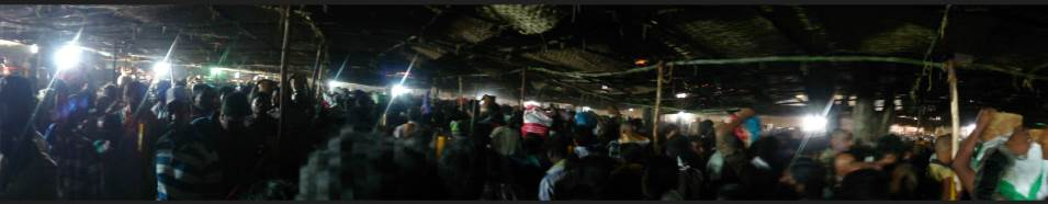 Panoramic View of Devotees in the queue line for darshanam at Medaram