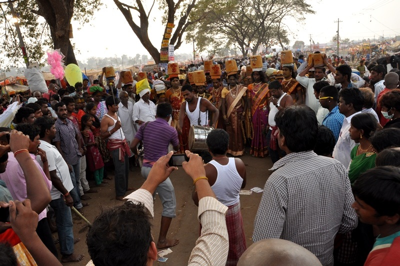 One of the Tribal Rituals at Medaram Jathara