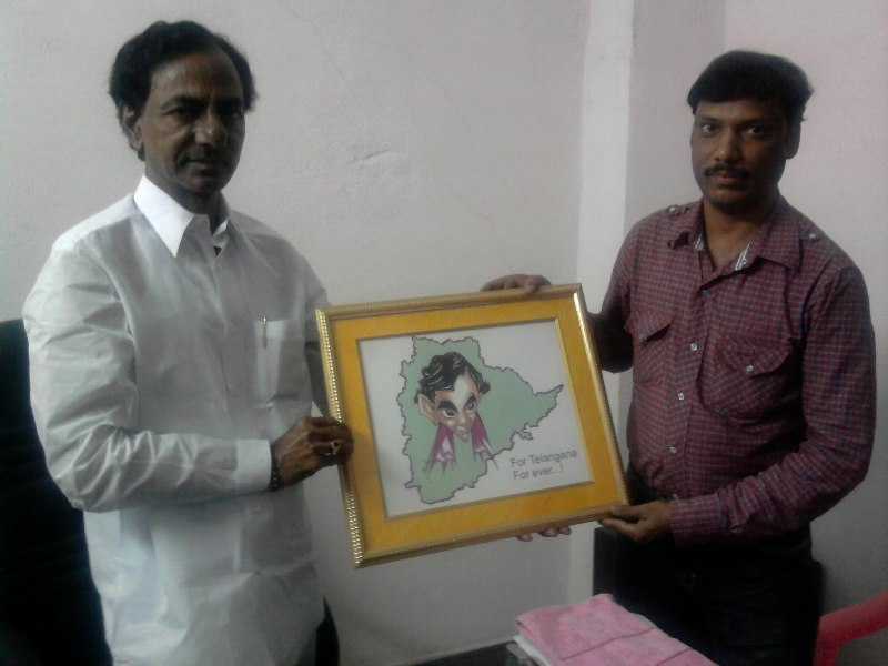 Mrityunjay Cartoonist with TRS President KCR