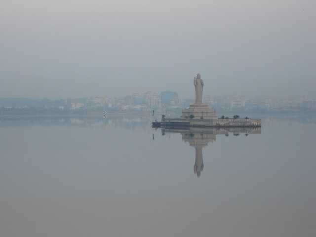 Tank Bund Hyderabad and Lord Buddha Statue during early hours