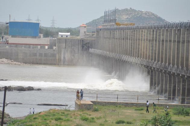 Water gushing through the gates of Jurala dam