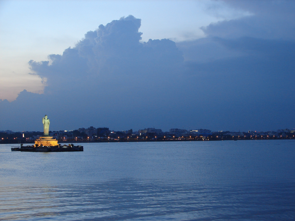 Hussain Sagar Lake with Lord Buddha Statue - lake destinations in Hyderabad