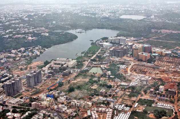 Aerial View of Durgam Cheruvu Lake Hyderabad