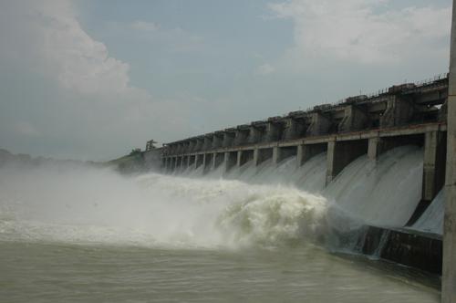 Water gushihng at Lower Manair Dam Karimnagar when 20 flood gates are opened