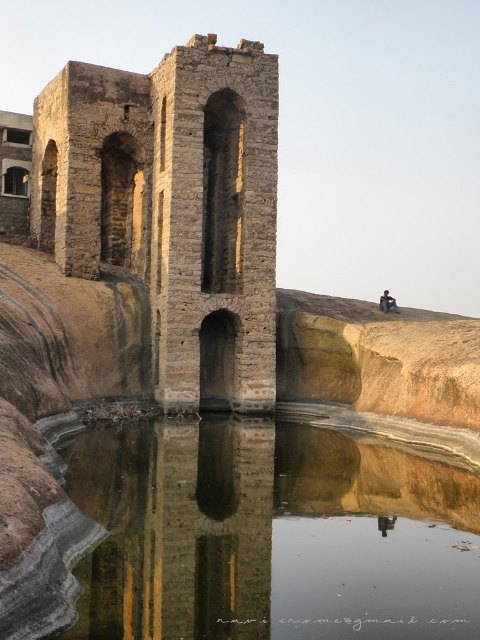 Water Pond on top of the hill at Bhongir Fort