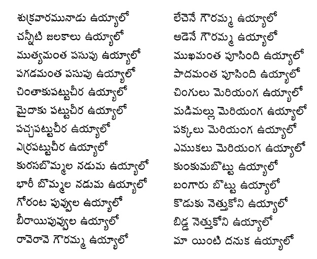 Shukravaramunadu Uyyalo - Bathukamma Songs Lyrics