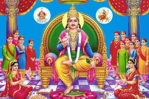 Chitragupta Swamy with his two consorts and 12 sons